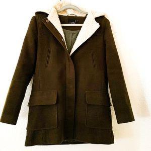 Asos Petite Hooded Slim Coat Button Down